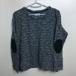 Zara Blue White with Elbow Detail Sweater Shirt